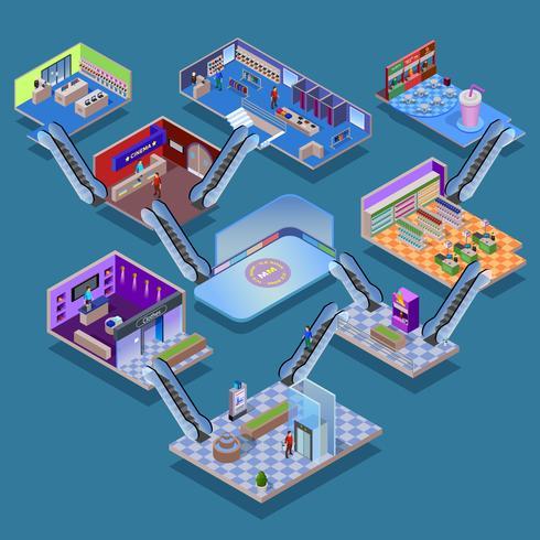 Isometrisches Konzept des Einkaufszentrums vektor