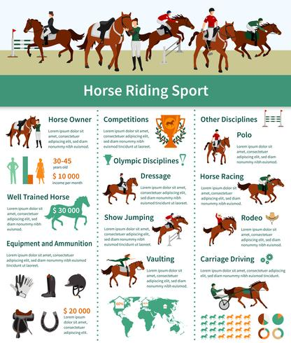 Pferd steigt Infografiken vektor