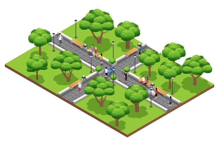 Isometrisk landskapsarkitektur med människor vektor
