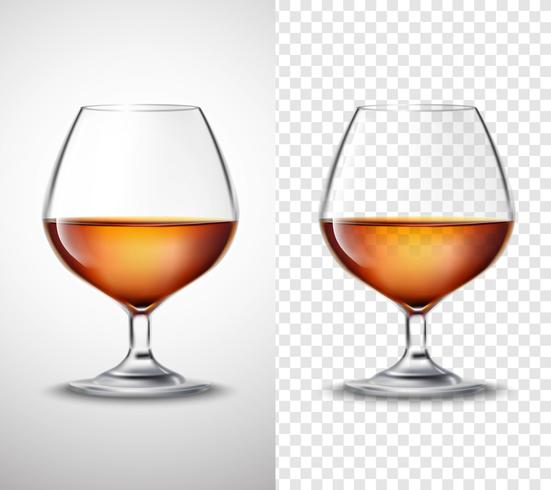Weinglas mit Alkohol-transparenten Fahnen vektor