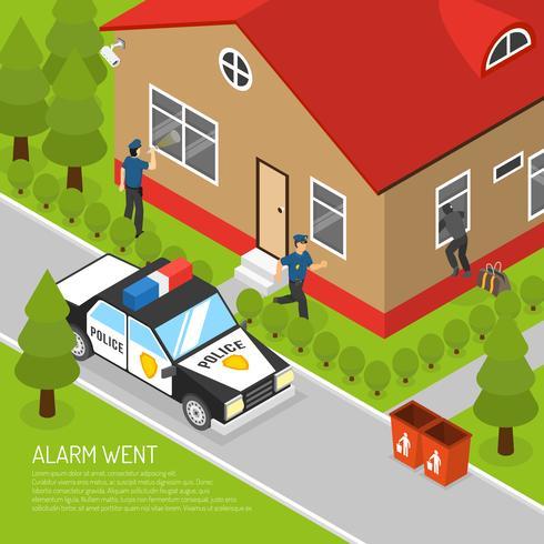 Isometrisk illustration för hemsäkerhetslarmrespons vektor