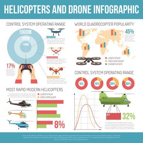 helikoptrar och drone infographics vektor