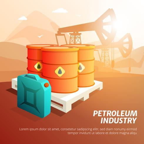 Oljeproduktion för oljeolja. Isometrisk affisch vektor