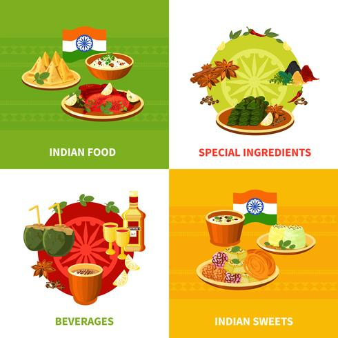 Indisk mat 4 platta ikoner torget vektor