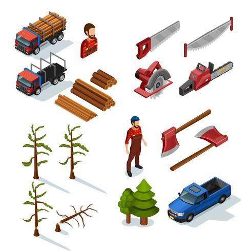 lumberjack isometric icons set vektor