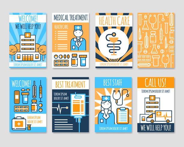 Medicinska kort Line Banners vektor