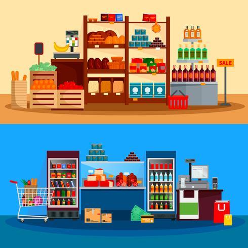 Inredning av Supermarket Banners vektor