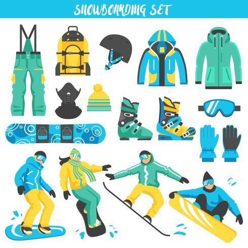 Snowboardutrustning Färgad uppsättning vektor