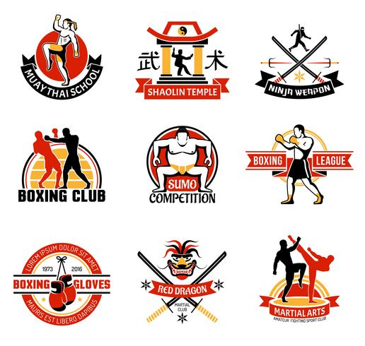 Martial Clubs Färgglada Emblem vektor