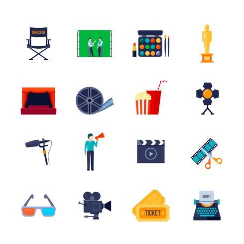 Filmaking Attributes Flat Icons-Sammlung vektor
