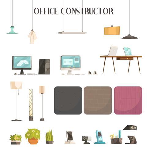 Moderne Büro-Zubehör-Karikatur-Ikonen eingestellt vektor