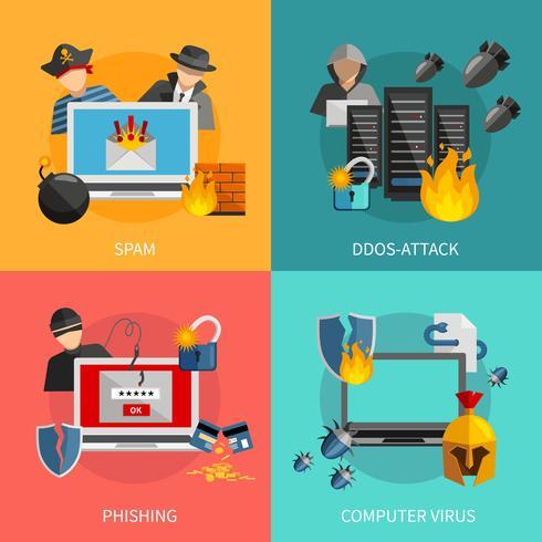 Hacker Attacks 2x2 Design Concept vektor