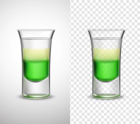 Alkohol trinkt farbige Glaswaren-transparente Fahnen vektor