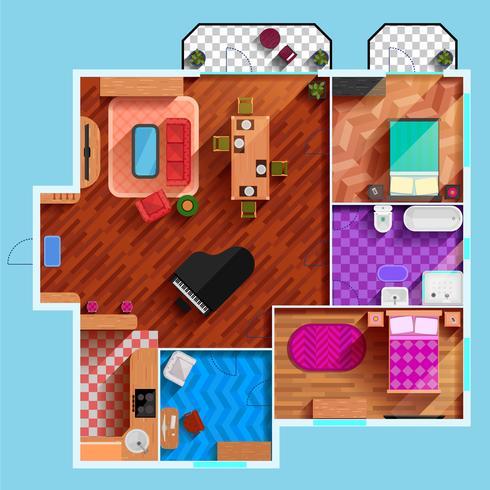 Draufsicht des Innenraums der typischen Wohnung vektor