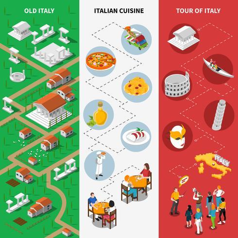 Italienische kulturelle isometrische Staatsflaggenfahnen vektor
