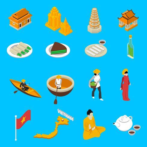Touristische Anziehungskräfte isometrische Ikonen-Sammlung Vietnams vektor