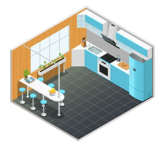 Isometrische Innenillustration der Küche vektor