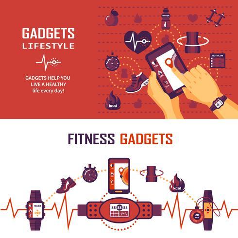 fitness övervakning banners vektor