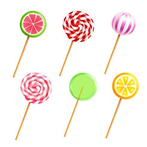 Sötsaker Lollipops Candies Realistiska ikoner Set vektor