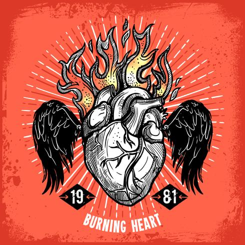 brinnande hjärta tatuering affisch vektor