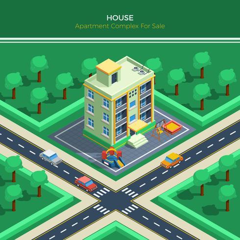 isometrisk stadslandskap med lägenhetshus vektor
