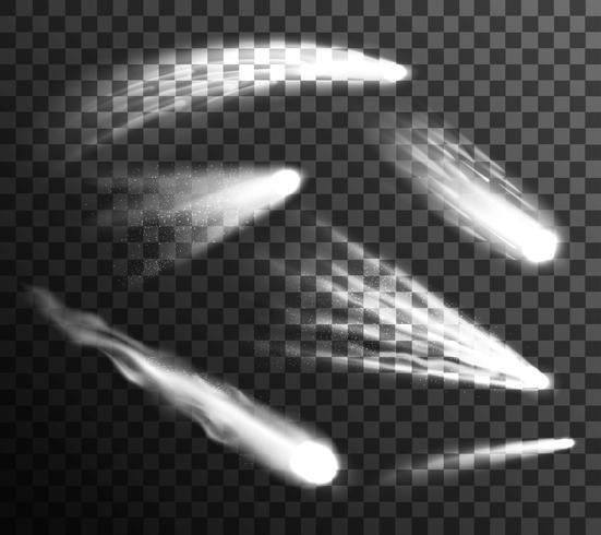 Vit Meteor Och Kometer Set Transparent vektor