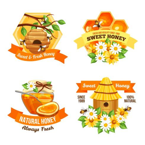 Honig-Werbeetiketten vektor