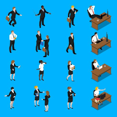 Geschäftsleute arbeiten isometrische Icons Set vektor