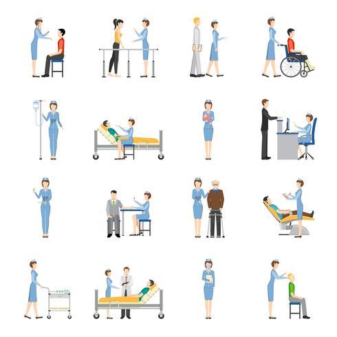 Sjuksköterskor Sjukvård Dekorativa ikoner vektor