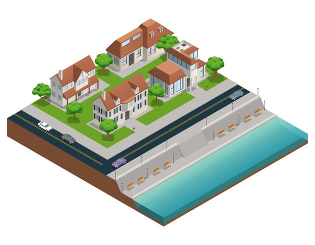 Suburban House Isometric Composition vektor