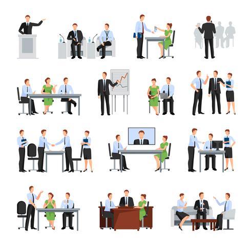 Geschäftskonferenz Icons Set vektor