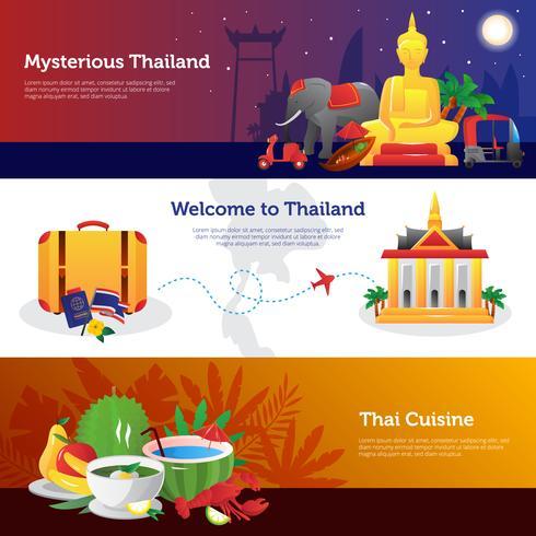 Thailand-Reise-horizontale Fahnen eingestellt vektor