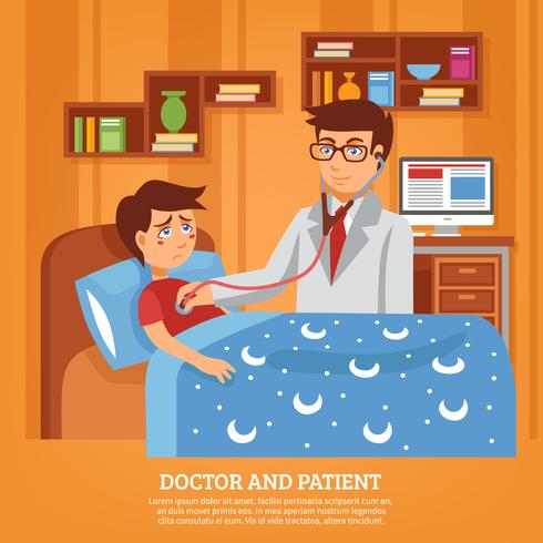 Doktor teilnehmende Patientenhaus-flache Illustration vektor