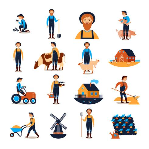 Farmers Flat icons Collection vektor