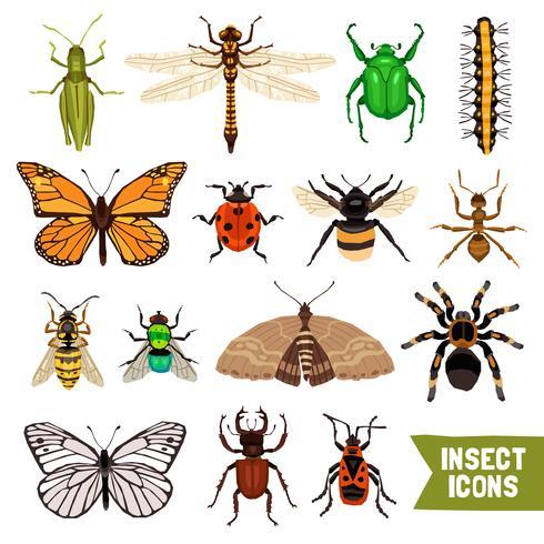 Insekter Icons Set vektor