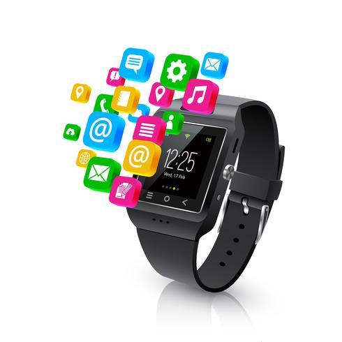 Smartwatch-applikationer Uppgifter Konceptlustration vektor
