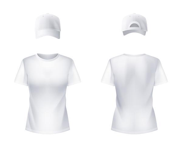 WhiteT-shirtt Baseball Cap Kvinna Realistiskt vektor