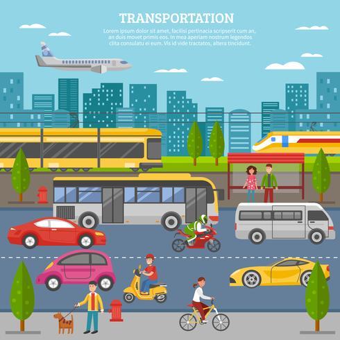 Transport in der Stadt Poster vektor