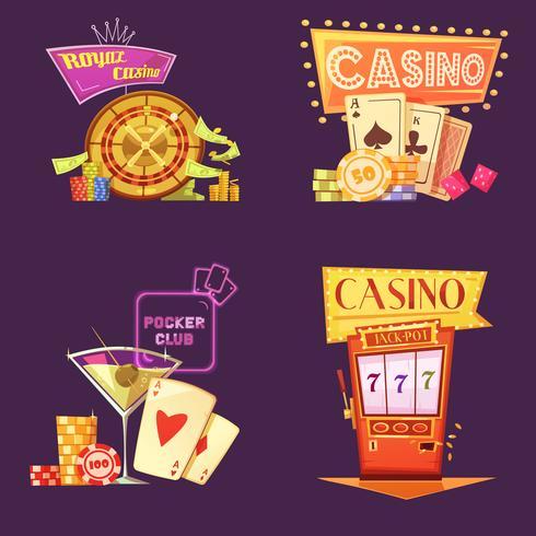 Casino Retro Cartoon 2x2 Ikoner Set vektor
