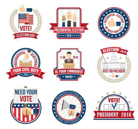 Etiketten für die Präsidentschaftswahl vektor