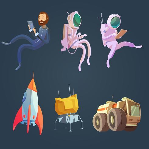 Weltraum-Cartoon-Set vektor