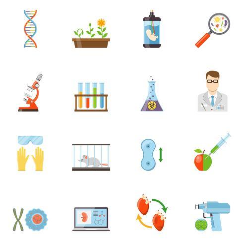 Biotechnologie- und Genetik-Farbikonen vektor