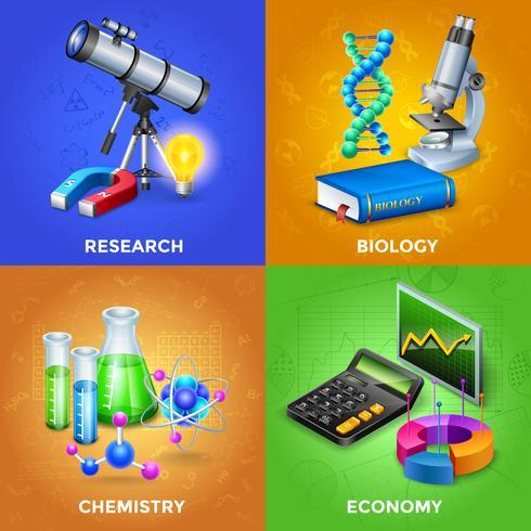 vetenskap 2x2 designkoncept set vektor