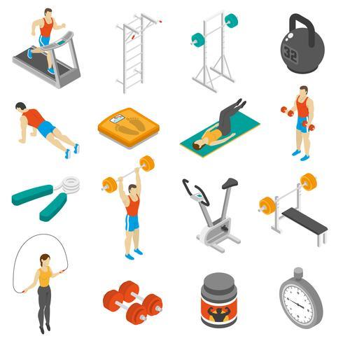 Fitness isometrische Icons Set vektor