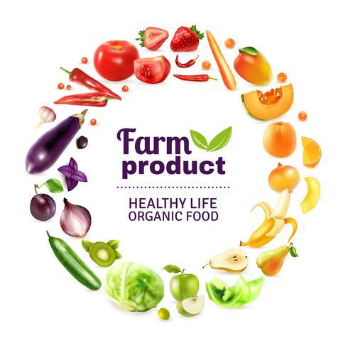 Gemüse und Obst Regenbogen Poster vektor
