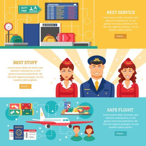 Flygplats Banner Set vektor