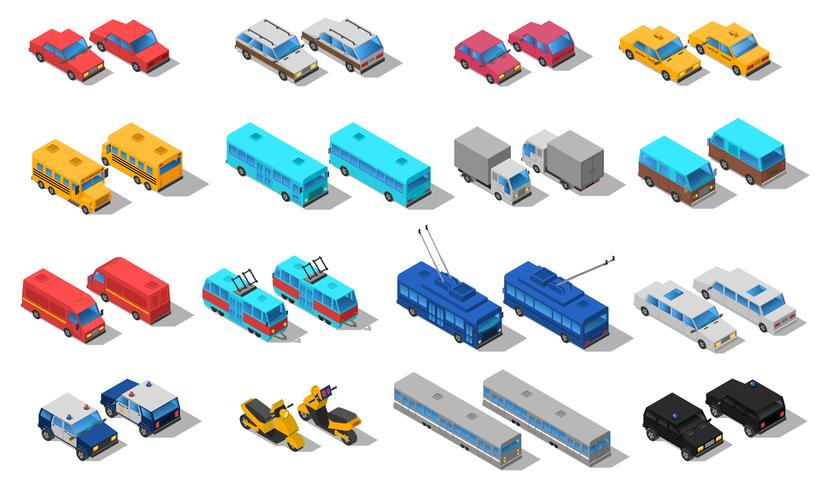 Stadtverkehr isometrische Icons Set vektor