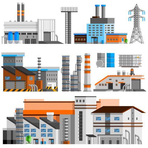 industriella byggnader ortogonala uppsättningen vektor