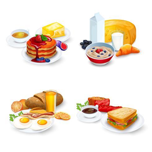 Frühstück Kompositionen Set vektor