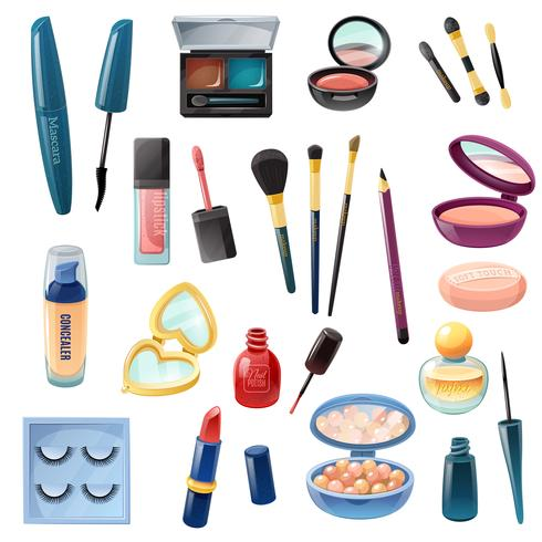 Damen-Kosmetik-Make-up-Set realistisch vektor